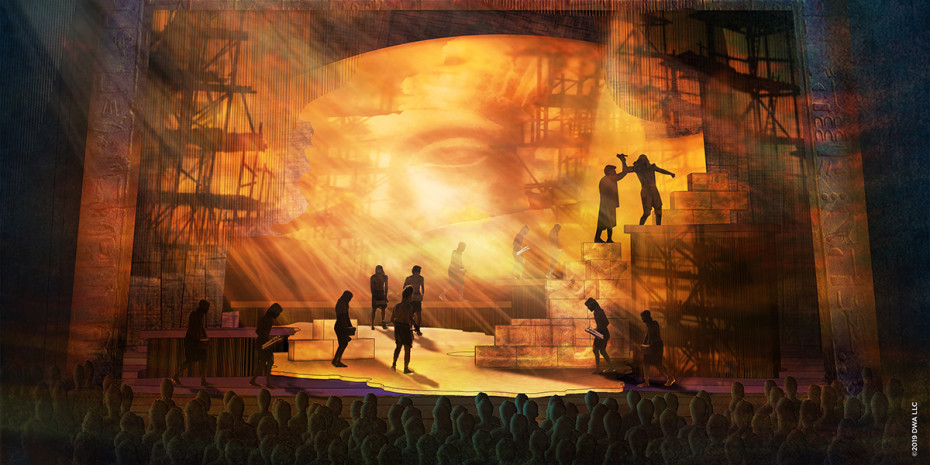 The Prince Of Egypt scenic design illustration by Kevin Depinet