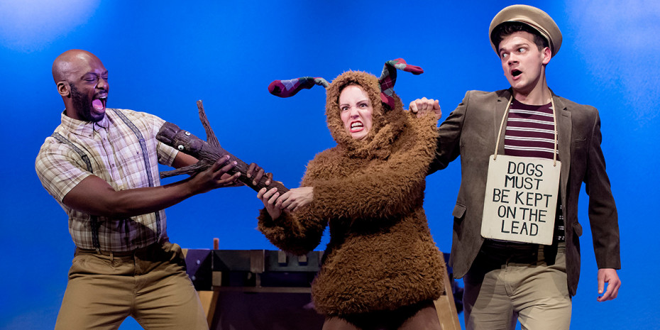 Production shot from Stick Man showing three characters on stage