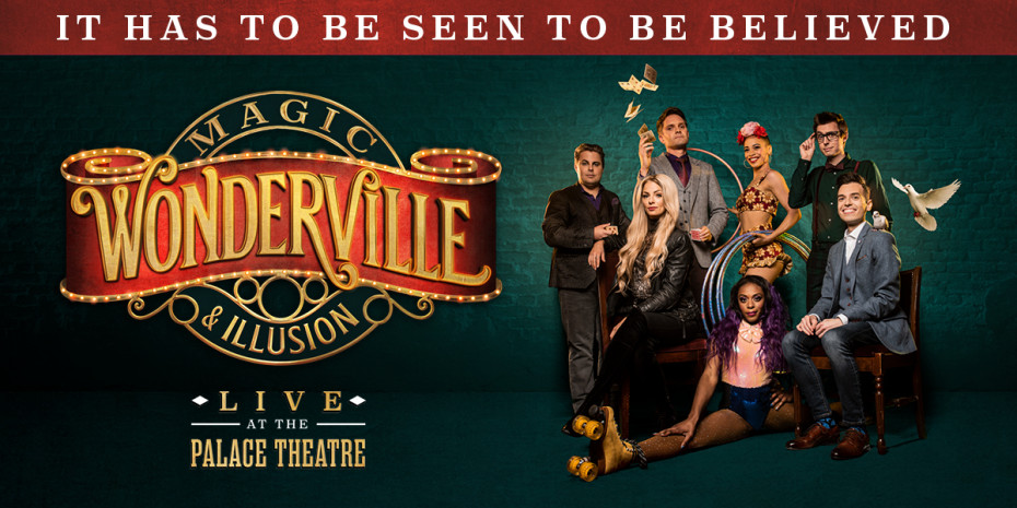 Logo of Wonderville with the magicians and illustionist stood to the left in various poses