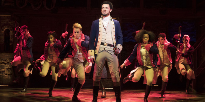Jamael Westman (Alexander Hamilton) and the West End cast of Hamilton (Photo: Matthew Murphy)
