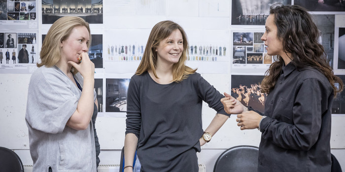 Carolyn Downing (Sound Designer), Rebecca Frecknall (Director) and Dervla Toal (Resident Director) in rehearsal for Summer And Smoke (Photo: Marc Brenner)