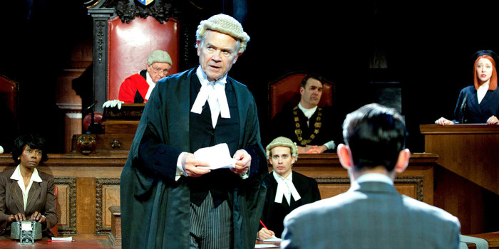 David Yelland and the cast of Witness For The Prosecution at London County Hall (Photo: Sheila Burnett)