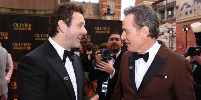 Michael Sheen (wearing Chester Barrie) and Bryan Cranston on the Olivier Awards 2018 with Mastercard red carpet (Photo: Pamela Raith)
