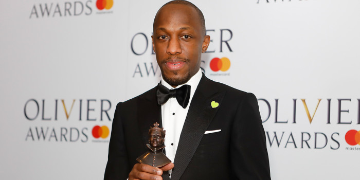 Giles Terera backstage at the 2018 Olivier Awards