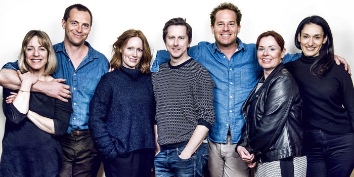 Claudie Blakley, Stephen Campbell Moore, Clare Foster, Lee Ingleby, Adam James, Heather Craney and Sian Clifford (Photo: Dewynters)