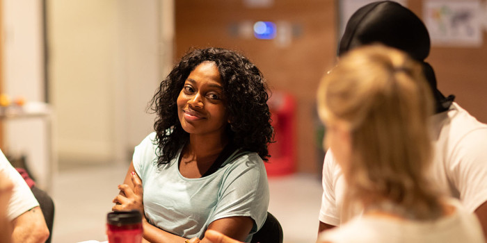 Aretha Ayeh (Chichi) in rehearsals for Leave to Remain at the Lyric Hammersmith. Photo by Helen Maybanks