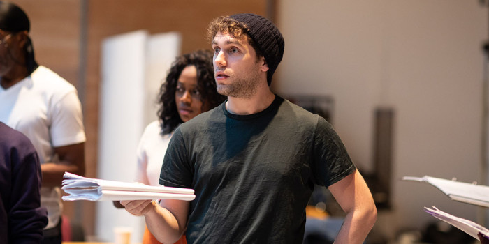 Billy Cullum (Alex) in rehearsals for Leave to Remain at the Lyric Hammersmith. Photo by Helen Maybanks