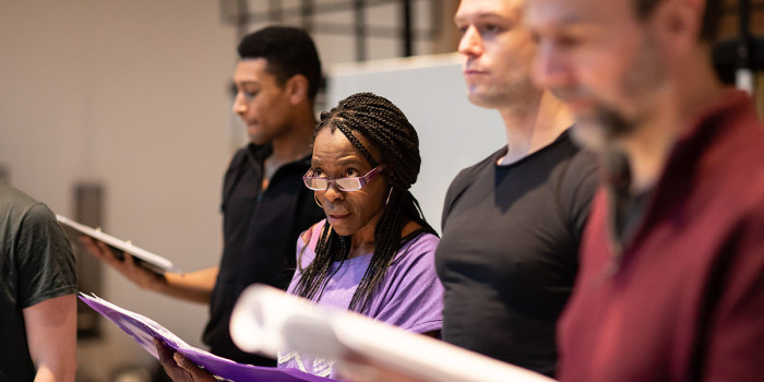Rakie Ayola (Grace) in rehearsals for Leave to Remain at the Lyric Hammersmith. Photo by Helen Maybanks