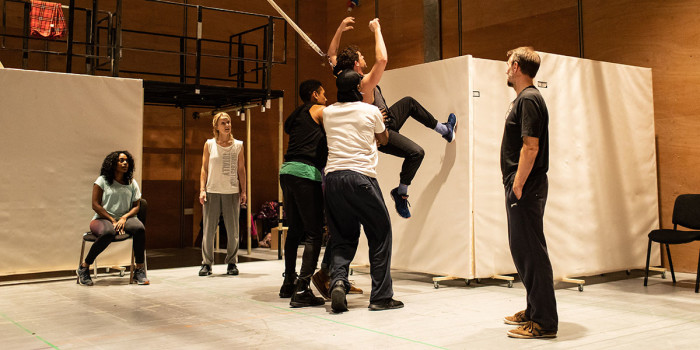 The company of Leave to Remain at the Lyric Hammersmith in rehearsals. Photo by Helen Maybanks (2)