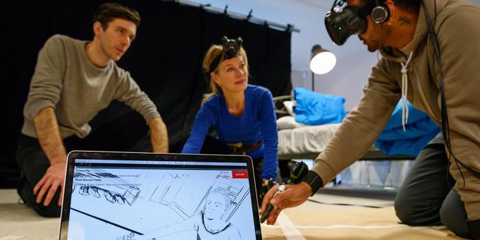 Draw Me Close - Jordan Tannahill rehearses a scene with Tamzin Griffin (actress) (c) James Bellorini