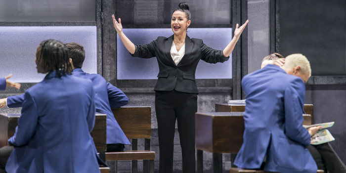 Hayley Tamaddon (Miss Hedge) in Everybody's Talking About Jamie at the Apollo Theatre. Photo credit Johan Perrson