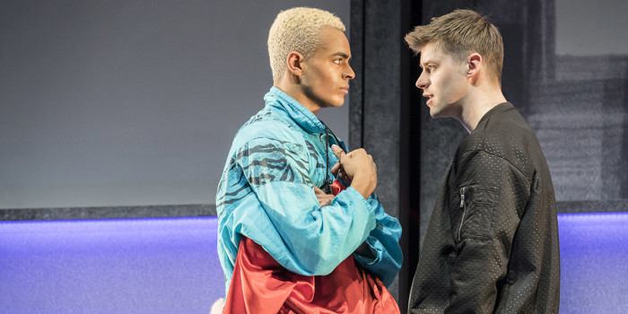 Layton Williams (Jamie) and Luke Baker (Dean Paxton) in Everybody's Talking About Jamie at the Apollo Theatre. Photo credit Johan Perrson