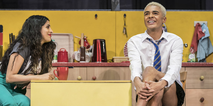 Sejal Keshwala (Ray) and Layton Williams (Jamie) in Everybody's Talking About Jamie at the Apollo Theatre. Photo credit Johan Perrson