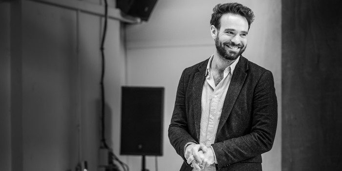 Charlie Cox in rehearsal for 'Betrayal'. Photo credit Marc Brenner.