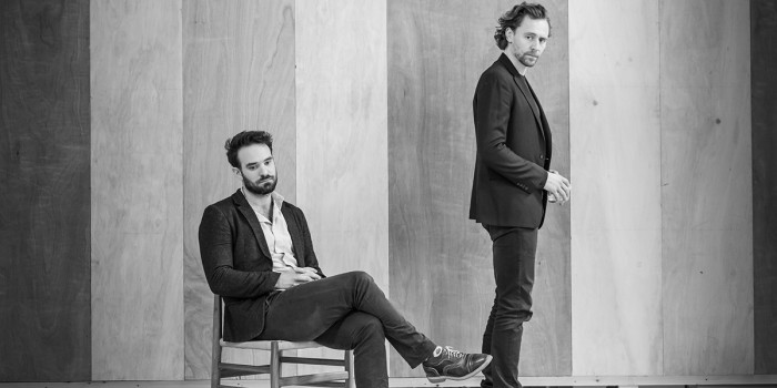 l-r Charlie Cox and Tom Hiddleston in rehearsal for 'Betrayal'. Photo credit Marc Brenner