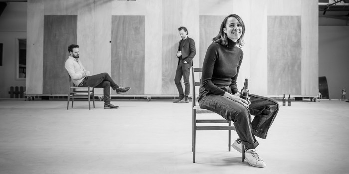 l-r Charlie Cox, Tom Hiddleston and Tom Hiddleston in rehearsal for 'Betrayal'. Photo credit Marc Brenner