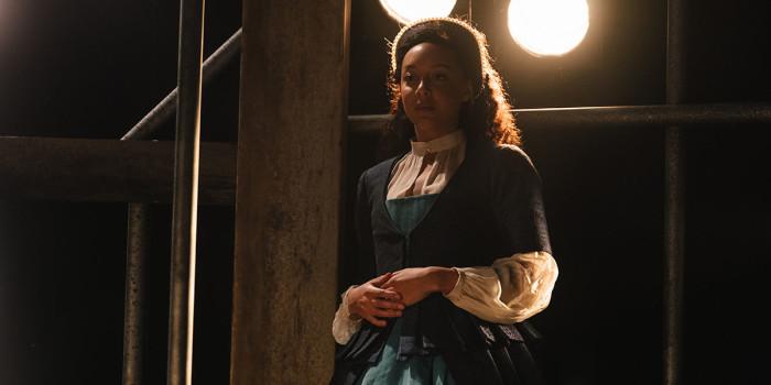 Adelle Leonce (Emilia 2) in Emilia at the Vaudeville Theatre. Photo credit Helen Murray.