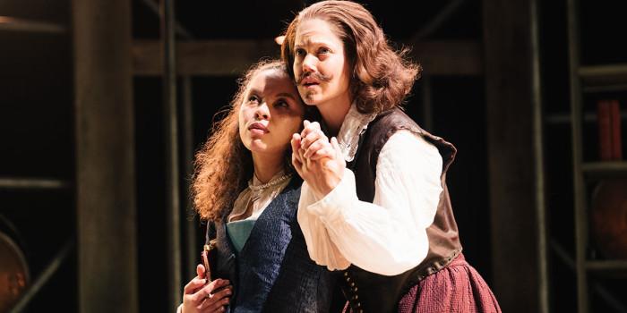 Saffron Coomber (Emilia 1) and Charity Wakefield (William Shakespere) in Emilia at the Vaudeville Theatre. Photo credit Helen Murray.