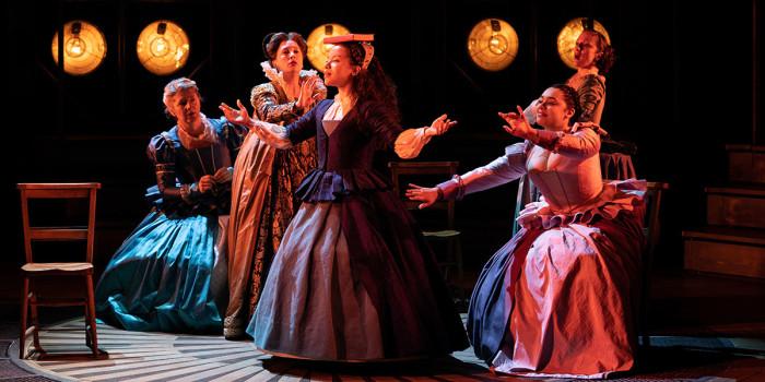 Saffron Coomber (Emilia 1) and the cast of Emilia at the Vaudeville Theatre. Photo credit Helen Murray.