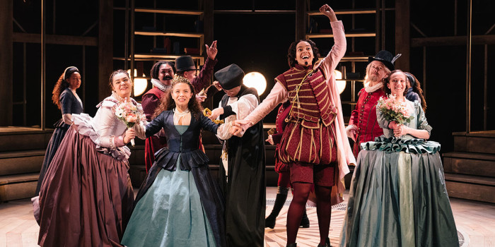The cast of Emilia at the Vaudeville Theatre. Photo credit Helen Murray. (2)