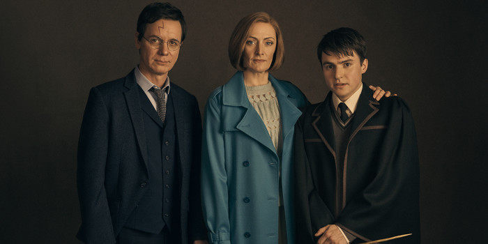 l-r Jamie Ballard (Harry Potter), Susie Trayling (Ginny Potter) and Dominic Short (Albus Potter)