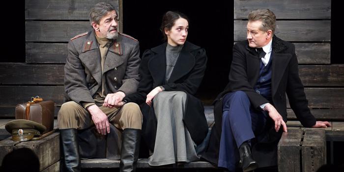 l-r Alexander Koshkarev, Ekaterina Tarasova and Sergey Vlasov in Three Sisters © MDT