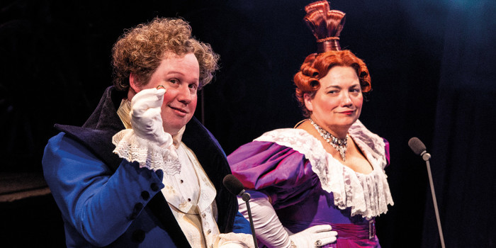 Matt Lucas as Thénardier and Katy Secombe as Madame Thénardier - Photograph Michael Le Poer Trench