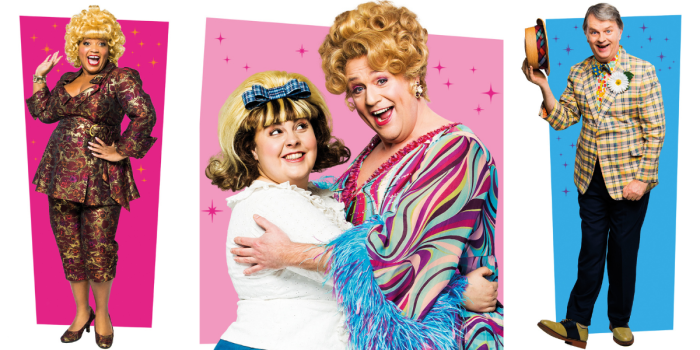 A collage of the cast of Hairspray including Michael Ball as Edna, Marisha Wallace as Motormouth Maybelle, Paul Merton as Wilbur Turnblad and Lizzie Bea as Tracy Turnblad