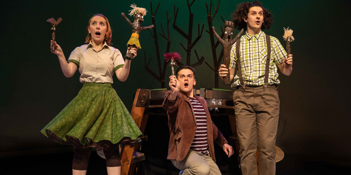 Stick Man at the Rose Theatre Kingston. (L-R) Georgina Duncan, Euan Wilson and Jamie Coles. Photo by Mark Senior
