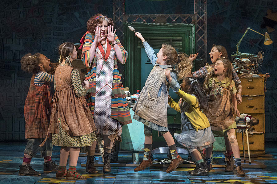 Miranda Hart (Miss Hannigan) with the Orphans in Annie at the Piccadilly Theatre (Photo: Paul Coltas)