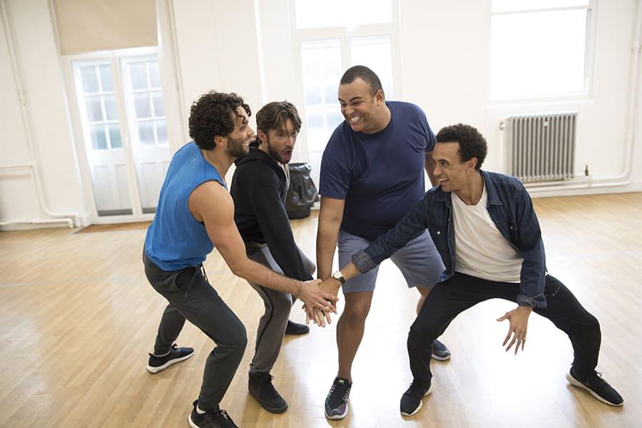 Matthew Croke (Aladdin), Daniel de Bourg (Kassim), Leon Craig (Babkak) & Miles Barrow (Omar) in rehearsal for Disney's Aladdin (Photo: Johan Persson)