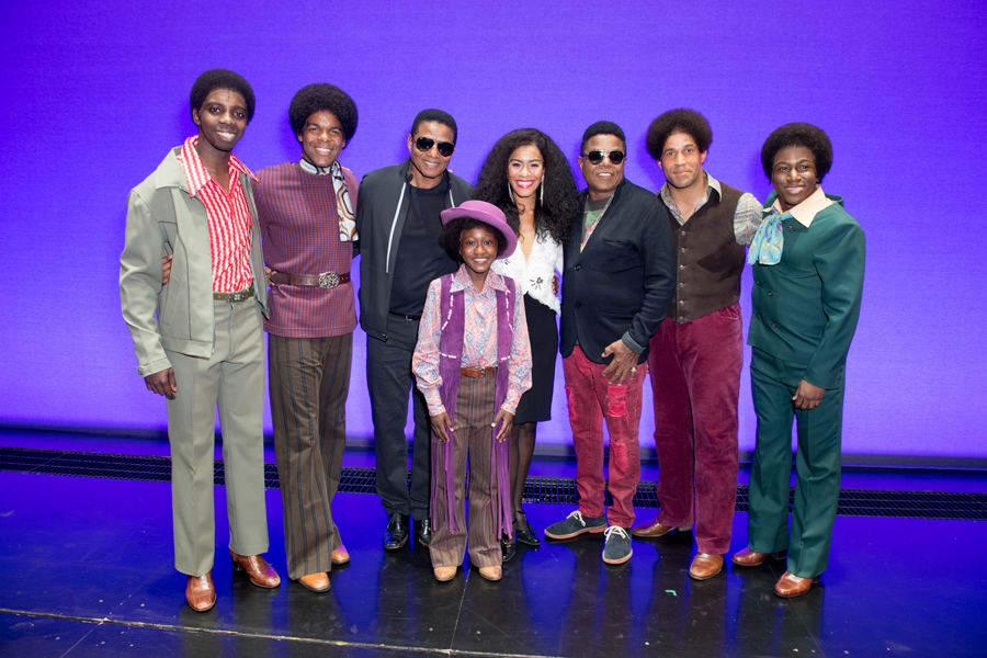 Motown The Musical's Jackson Five and Lucy St Louis (Diana Ross) with Jackie Jackson and Tito Jackson (Photo: Craig Sugden)