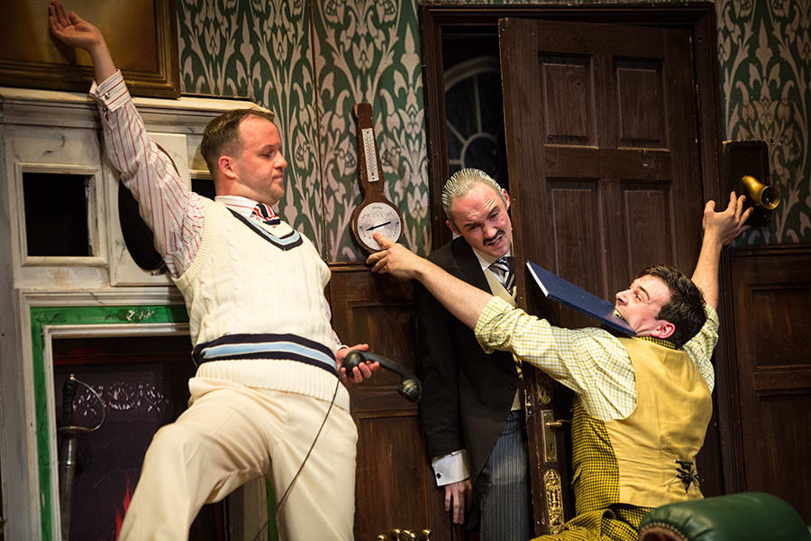 Daniel Millar, Oliver Llewellyn-Jenkins and Adam Byron in The Play That Goes Wrong (Photo: Helen Murray)