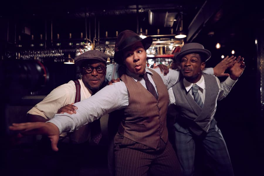 The cast of Five Guys Named Moe at Marble Arch Theatre (Photo: Graham Michael)