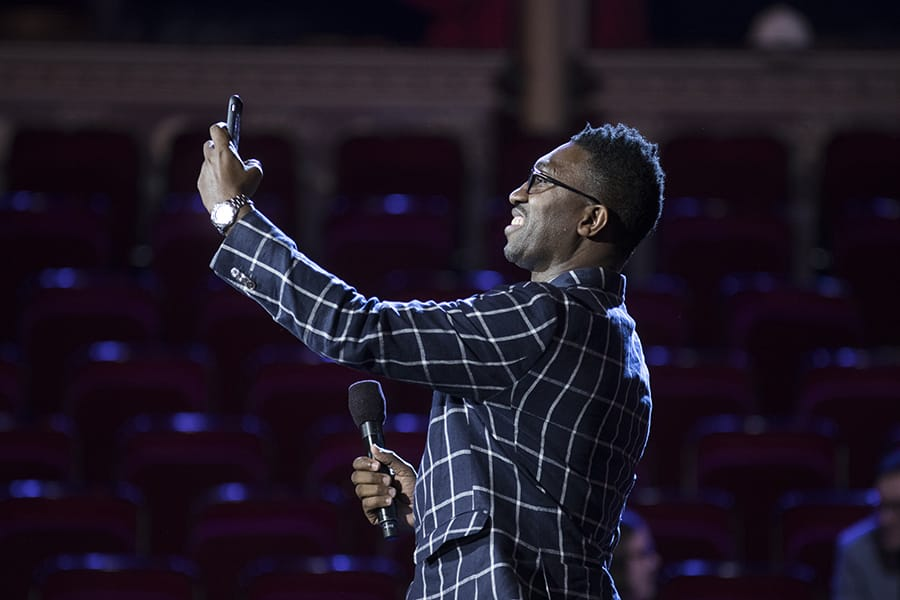 Kwame Kwei-Armah in rehearsals at the Olivier Awards 2017 with Mastercard (Photo: David Levene)