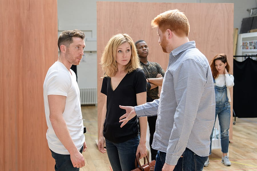 Ben Batt (Andrews), Nancy Carroll (Maggie) and Joe Murphy (Director) in rehearsal for Woyzeck at The Old Vic (Photo: Manuel Harlan)