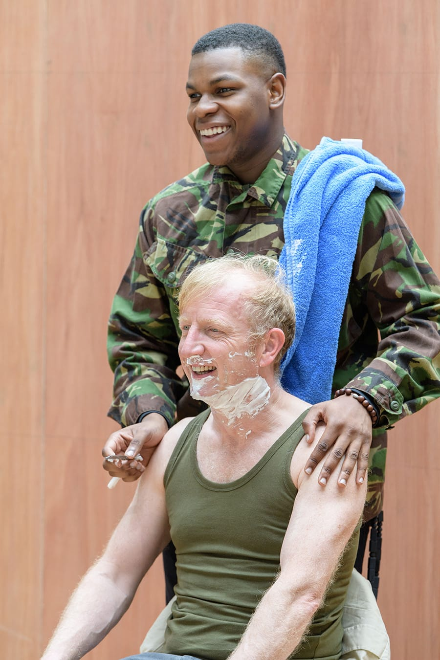 John Boyega (Woyzeck) and Steffan Rhodri (Captain Thompson) in rehearsal for Woyzeck at The Old Vic (Photo: Manuel Harlan)