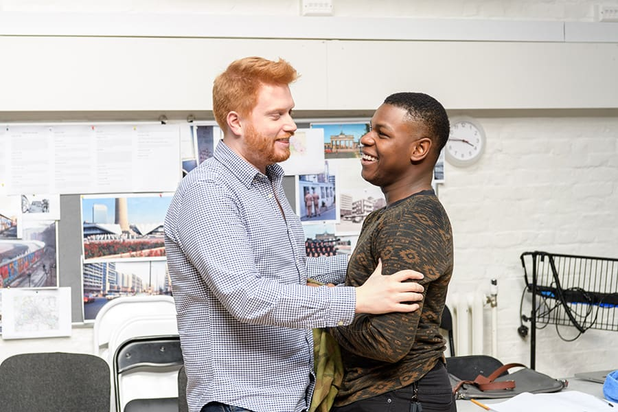 Joe Murphy (Director) and John Boyega (Woyzeck) in rehearsal for Woyzeck at The Old Vic (Photo: Manuel Harlan)