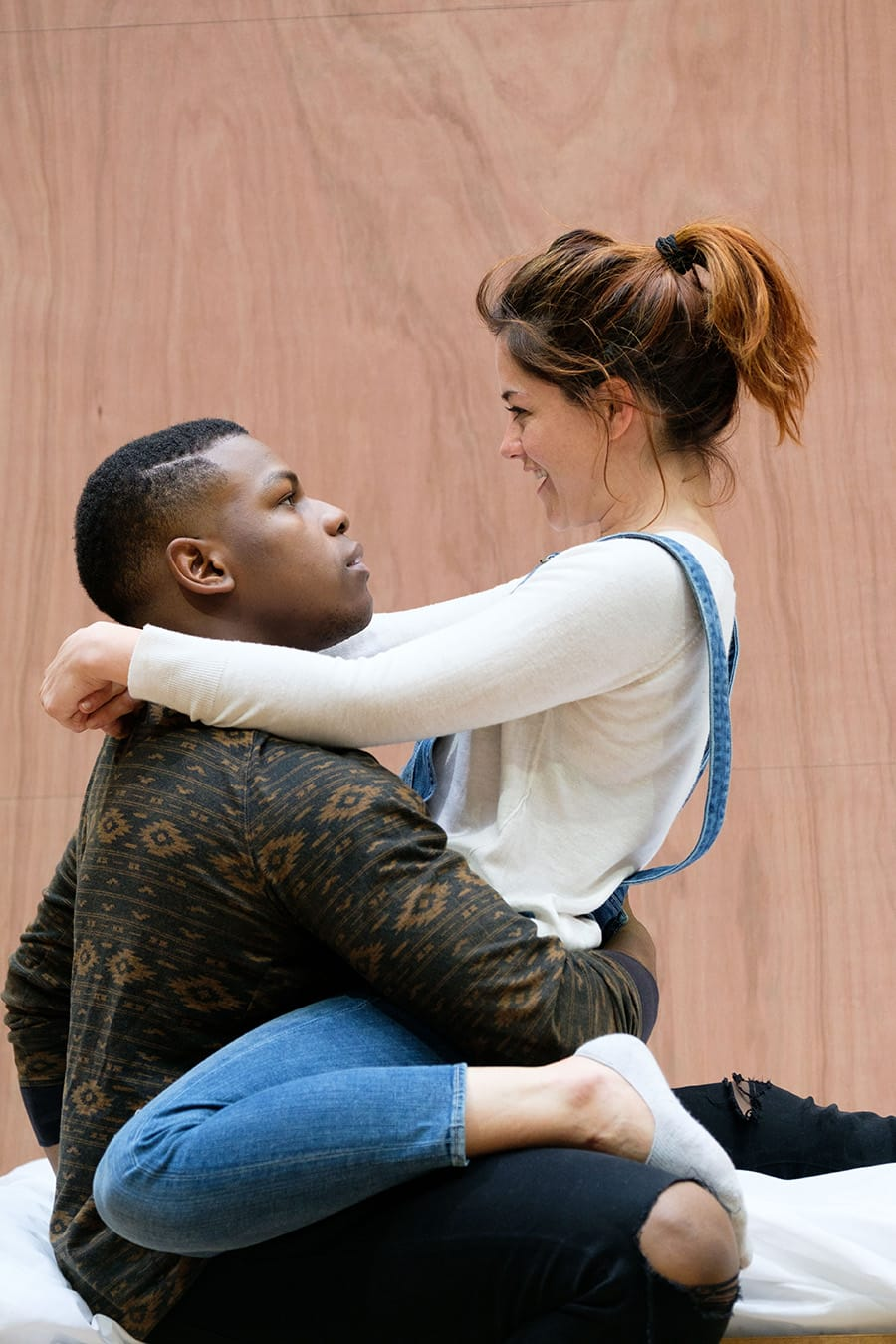John Boyega (Woyzeck) and Sarah Greene (Marie) in rehearsal for Woyzeck at The Old Vic (Photo: Manuel Harlan)