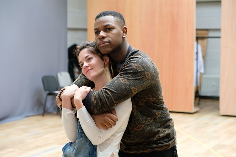 Sarah Greene (Marie) and John Boyega (Woyzeck) in rehearsal for Woyzeck at The Old Vic (Photo: Manuel Harlan)