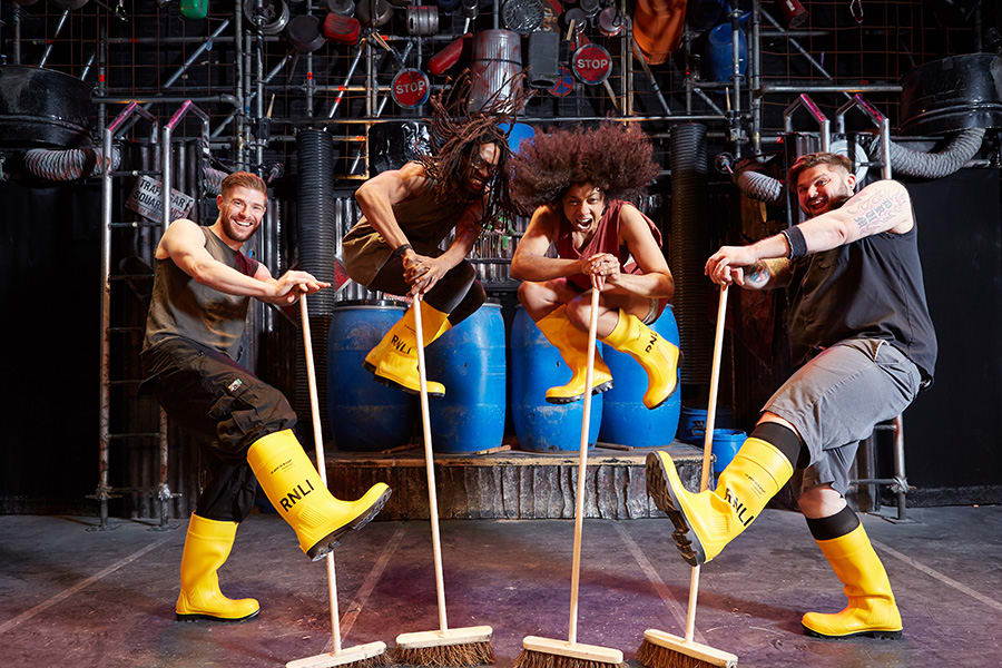 The cast of Stomp supporting the RNLI (Photo: Ben Lister/RNLI)