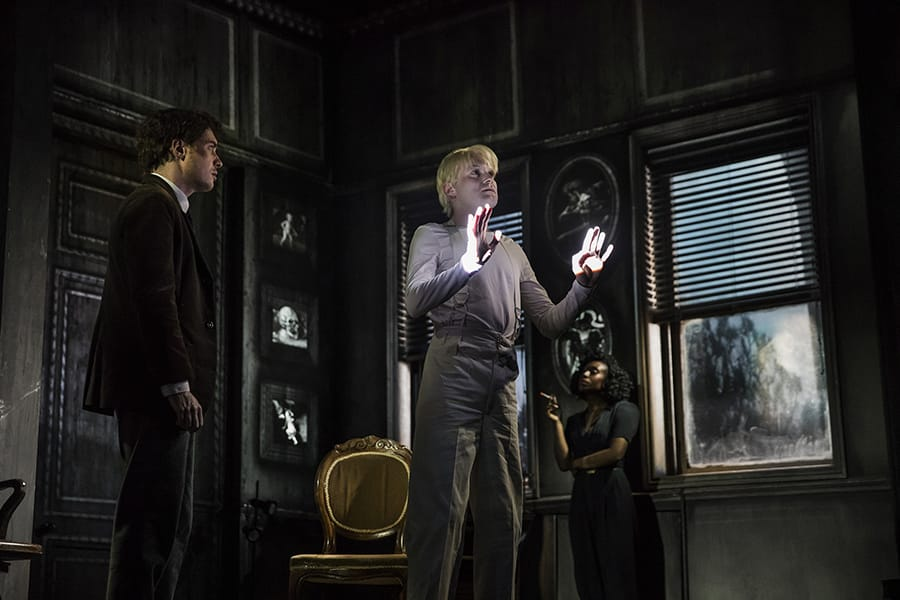 Mark Edel-Hunt (Daniel Quinn), Jack Tarlton (Peter Stillman) and Vivienne Acheampong (Virginia Stillman) in Paul Auster's City Of Glass at the Lyric Hammersmith (Photo: Jonathan Keenan)