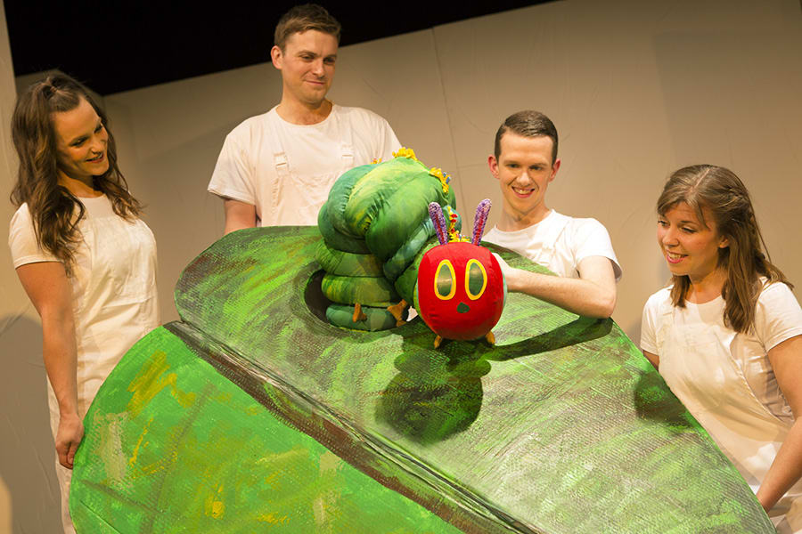 Sarah Hamilton, Andrew Cullimore, Adam Ryan and Katie Haygarth in The Very Hungry Caterpillar Show (Photo: Pamela Raith Photography)