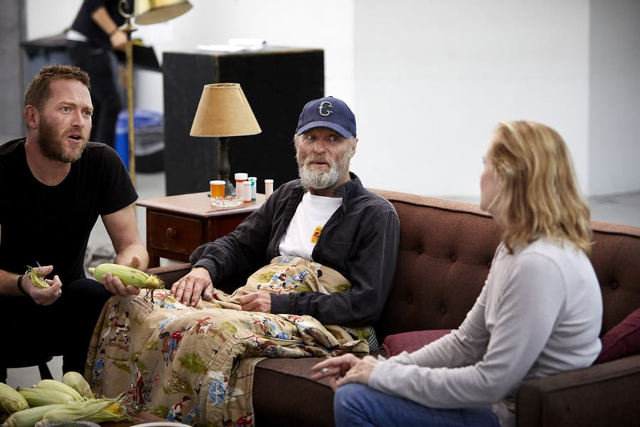 Barnaby Kay (Tilden), Ed Harris (Dodge) and Amy Madigan (Hallie) in Buried Child rehearsals (Photo: Serge Nivelle)