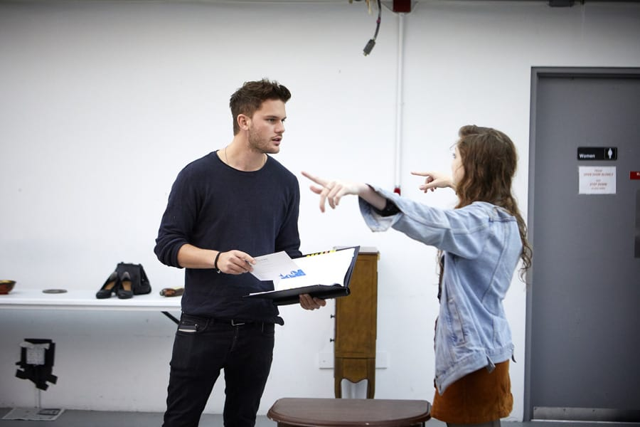 Jeremy Irvine (Vince) and Charlotte Hope (Shelly) in Buried Child rehearsals (Photo: Serge Nivelle)