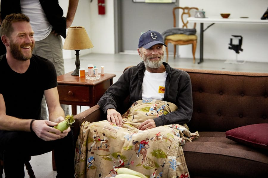 Barnaby Kay (Tilden) and Ed Harris (Dodge) in Buried Child rehearsals (Photo: Serge Nivelle)