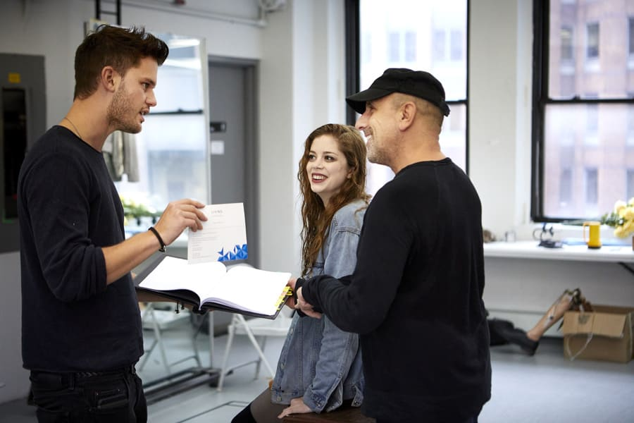 Jeremy Irvine (Vince), Charlotte Hope (Shelly) and Scott Elliott (Director) in Buried Child rehearsals (Photo: Serge Nivelle)