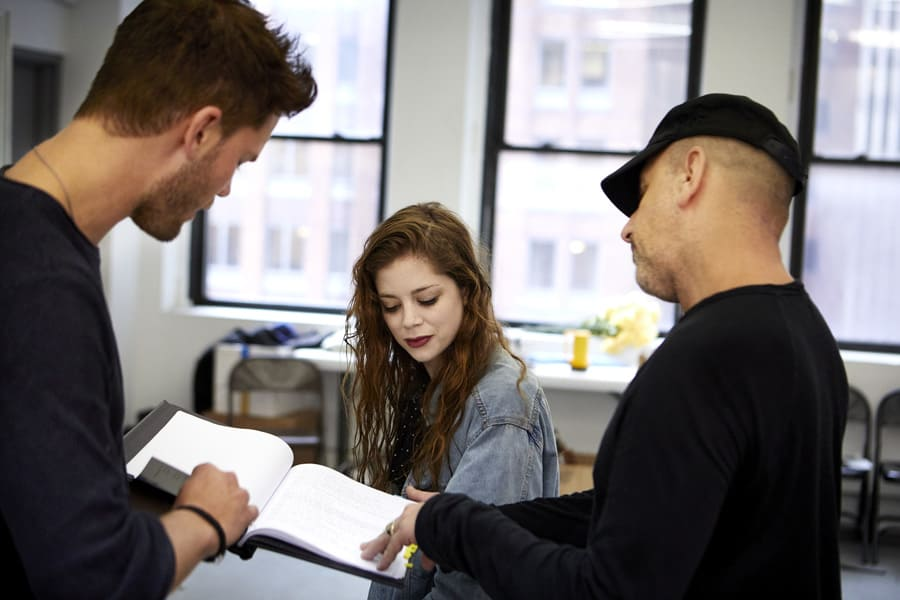 Jeremy Irvine (Vince), Charlotte Hope (Shelly) & Scott Elliott (Director) in Buried Child rehearsals (Photo: Serge Nivelle)