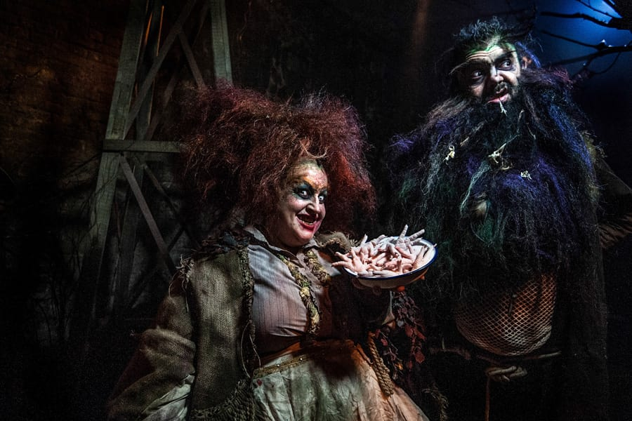 Chris Barlow and Lizzy Dive as Mr and Mrs Twit in Dinner At The Twits (Photo: Rah Petherbridge)