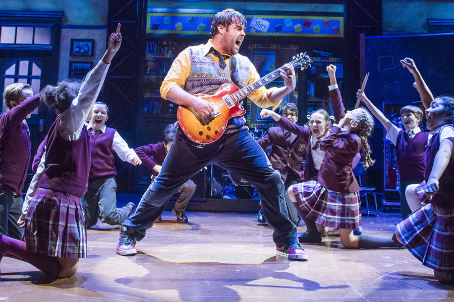 David Fynn (Dewey Finn) & the kids from School Of Rock (Photo by Tristram Kenton)